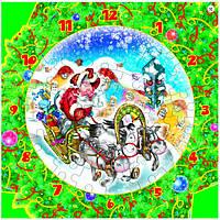 """Сборная пазл-игрушка Часы """"Новогодняя тройка"""" (с часовым мех.) Материал: картон + изолон"""