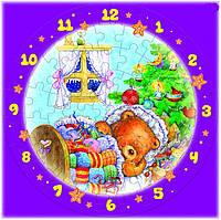 """Сборная пазл-игрушка Часы """"Новогодние сны"""" (с часовым мех.) Материал: картон + изолон"""