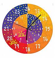 """Сборная пазл-игрушка Часы """"День и ночь"""" (с часовым мех.) Материал: картон + изолон"""