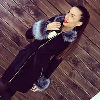 Женское кашемировое зимнее пальто на молнии