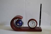 Набор настольный деревянный подарочный глобус ручк