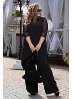 Женский костюм двойка Миндаль цвет черный до 72 размера
