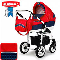 Универсальная коляска 2 в 1 Adbor Marsel PerFor Sport P04 (red-dark blue leather)