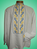 Чоловіча вишита сорочка із синьо-жовтим узором (Мужская вышитая рубашка с сине-желтым узором) SN-0001