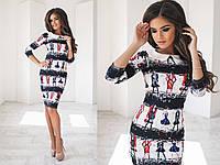 Модное платье-футляр с белым воротничком