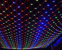 Новогодняя LED гирлянда сетка, 120 светодиодов, 1,5х1,4 м для украшения стен и потолков