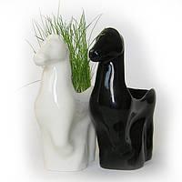Подставка для карандашей Лошадь чёрная, керамика, символ года, новогодний подарок