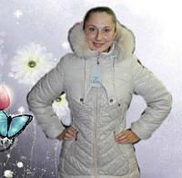 Теплое,зимнее пальто на девочку 36,38,40,42 размер (цвет: беж) натуральная опушка