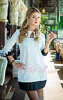 Трикотажное Платье офисное молочное