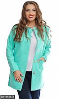 Стильный женский пиджак прямого кроя на пуговицах с карманами рукав длинный кашемир батал