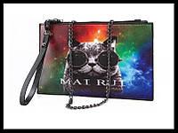 Удобная сумочка клатч с ярким принтом. Творческая сумка. Удобная сумка с креативным рисунком. Код: КБН83