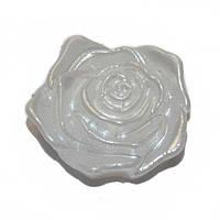 Розочка клеевая жемчужная - кабошон, серединка для банта, броши, диаметр 18 мм