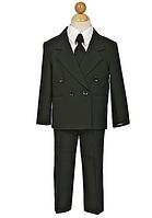 Классический чёрный двубортный нарядный  костюм с галстуком на мальчика 2-18 лет(3 цвета)