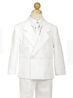 Классический белый двубортный нарядный  костюм с галстуком на мальчика 2-18 лет(3 цвета)