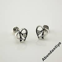 Серебряные серьги-гвоздики (пусеты) Сердце 4681