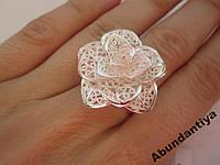 Серебряное кольцо Роза БЕЗРАЗМЕРНОЕ (3659)
