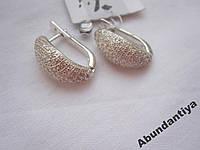 Серебряные серьги с цирконием, 925 пробы (4644)