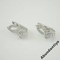 Серебряные серьги с цирконием, 925 пробы (4423)