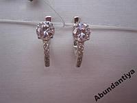Серебряные серьги с цирконием, 925 пробы (4571)