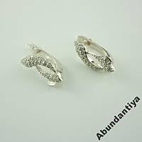 Серебряные серьги с цирконием, 925 пробы (4409)