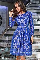 Вечернее платье с пайетками. Цвет синий электрик.
