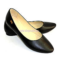 Балетки женские кожаные, черный цвет.