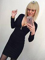 """Короткое облегающее черное платье с глубоким вырезом на молнии """"Моника"""""""