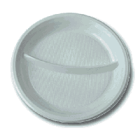 Одноразовые тарелки (Ø=20,5см, 2д) белые (укр.), 100шт/уп