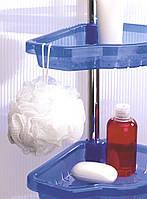 Полочка угловая на распорке в ванную и душевую комнату