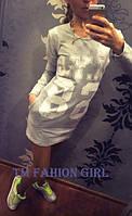 Платье в спортивном стиле с длинным рукавом серое N.Y.C - 68