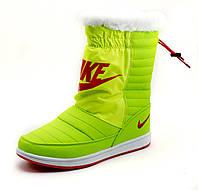 Дутики женские Nike, зимние, салатовые, р. 37 38 39 40 41, фото 1
