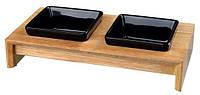 Trixie Миска керамическая в деревянной подставке , 2 x 0.2 л, 28 x 5 x 15 см, миски-черные