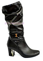 Женские кожаные сапоги на меху классического пошива, фото 1