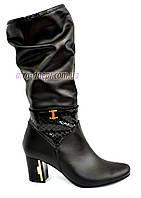 Женские кожаные сапоги демисезонные классического пошива, фото 1