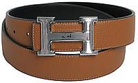 Двухсторонний кожаный мужской ремень Hermes 2746 бежевый/черный ДхШ: 114х4 см.