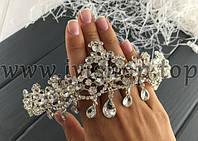 Диадема со стразами под серебро, с подвесками (свадебная диадема)