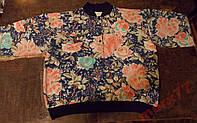Реглан (кофта - байка) с цветочным принтом, 52-54