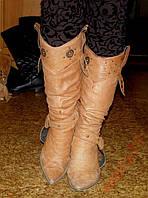 Кожаные женские сапоги-казаки, 38- размер