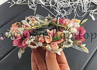 Веночек - диадема цветная с бусинами, на завязках, персиковая (свадебная диадема с цветами)