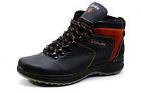 Ботинки зимние Columbia, мужские, на меху,  натуральная кожа, черные с рыжим, р. 40 41 43 44 45