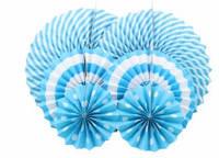 Набор бумажных вертушек для декора 6 шт., голубые