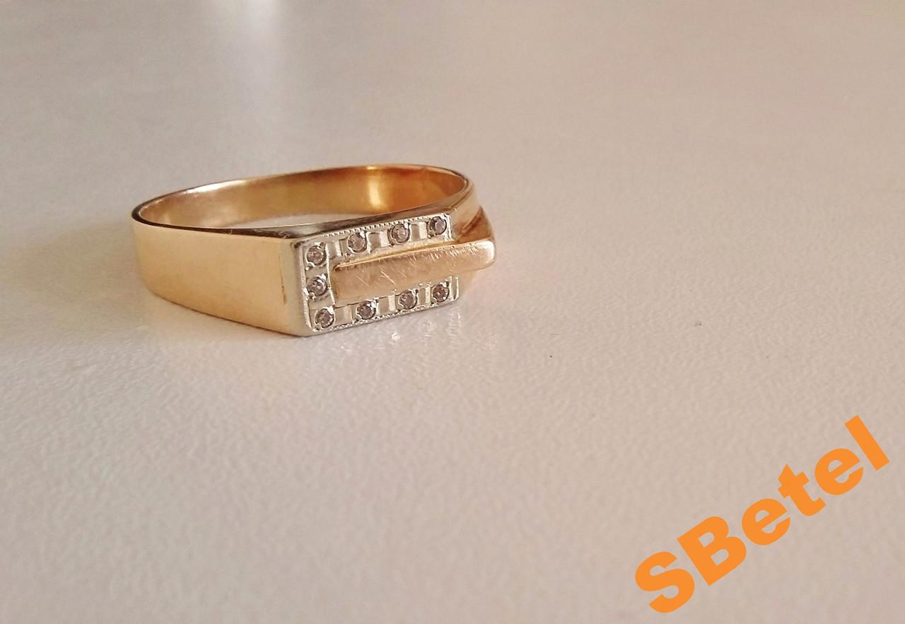 Мужское золотое кольцо с камнями, золото + белое