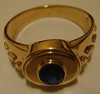 Кольцо мужское 3013Г, золото 585 проба, сапфир 0,25кт.