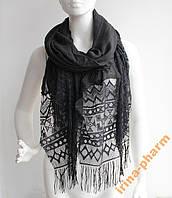 Женский шарфик с ажурным краем РС3316 Черный