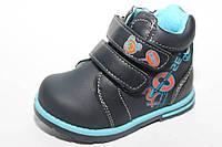 Осенние ботинки для мальчиков синие на липучках 22-26р.