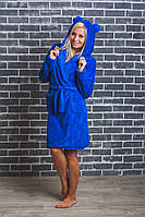 Махровый женский халат с ушками электрик