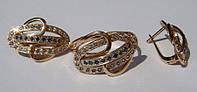 Набор К00581М, золото 585 проба, топазы, сапфиры.