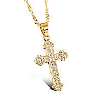 Крестик женский позолоченный с цепочкой