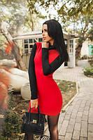 Платье комбинированное красное с черным воротник под горло