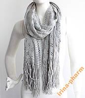 Женский вязаный шарф 2113 Серый